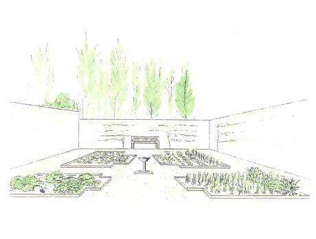 elevation drawing of a Rosalind Claire garden